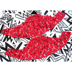 READY TO STITCH CROCHET SLEEVES - FEROCIOUS RED by THE NEWLIFE SHOP