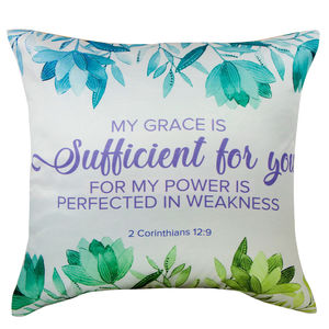 "Christian dukaan Satin Cushion Cover - My Grace is Sufficient - 16"" X 16"" , White"