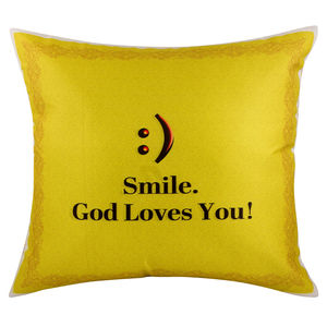 "Christian dukaan Satin Cushion Cover - Smile… God Loves You - 16"" X 16"" , Yellow"