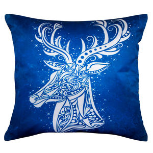 "Christian dukaan Satin Cushion Cover - Reindeer - 16"" X 16"" , Blue"