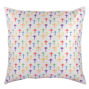 "Christian dukaan Satin Cushion Cover - Crosses - 16"" X 16"" , Ivory"