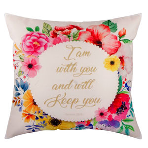 "Christian dukaan Satin Cushion Cover - I Am with You and Will - 16"" X 16"" , White"