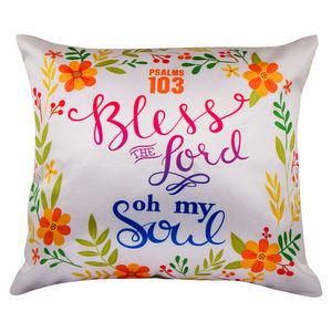 "Christian dukaan Satin Cushion Cover - Bless The Lord. - 16"" X 16"" , White"