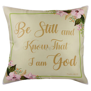 "Christian dukaan Satin Cushion Cover - Be Still and Know. - 16"" X 16"" , Green"
