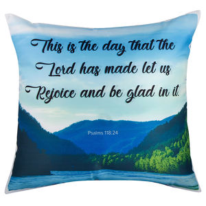 "Christian dukaan Satin Cushion Cover - This is The Day The Lord - 16"" X 16"" , Blue"
