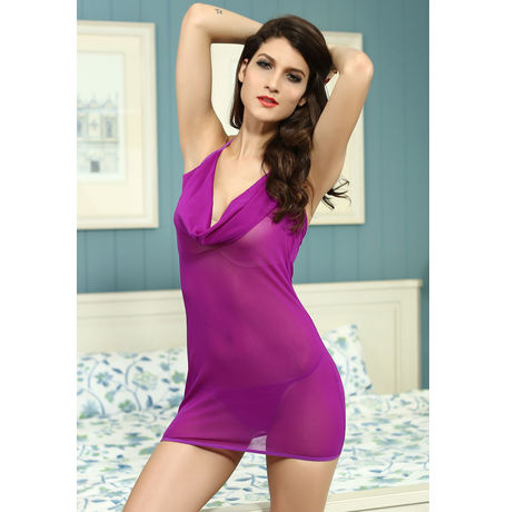 Plunging Cowl Chemise Purple JKDL - LC2896-1, catalog color, free  30-36 bust  30-34 waist  30-36 hips