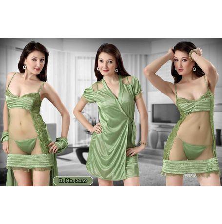 2 piece honeymoon transparent robe nighty - JKHNS-2P-ROBE- 2907 - 2039, catalog green