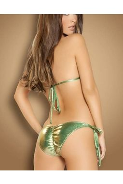 Metallic Shine String Bikini - Flexible Sexy - JKSHINEBIKINI, parrot green