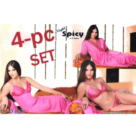 4-Piece Bridal Nighty - 2 in one - 4P-4007, pink