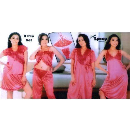 8 Piece Honeymoon Nighty - Bikini Cami skirt pyjama lace panty - JKSpicyNight-8Piece, pink