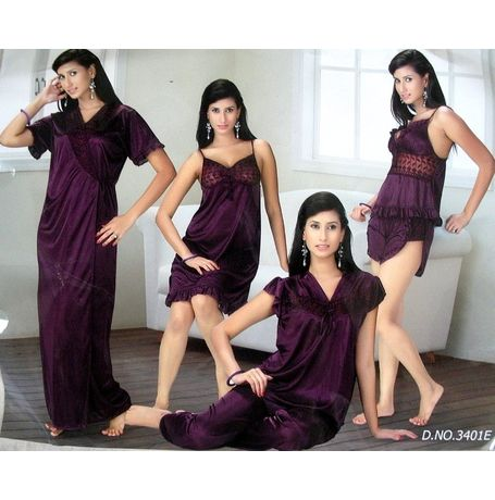 6 Piece Nighty - Hottest design Honeymoon Set - JK6P - 3401, lavender