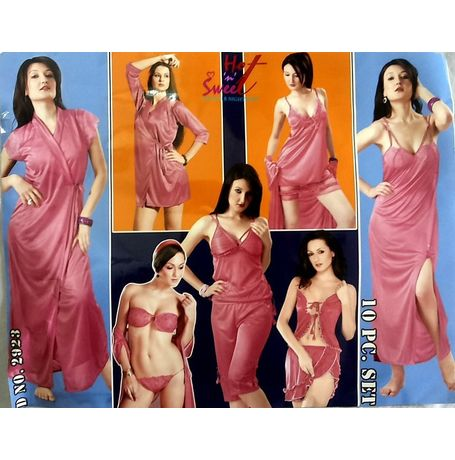 10 piece bridal nighty collection - JKHNS-10P - 2923, catalog onion pink
