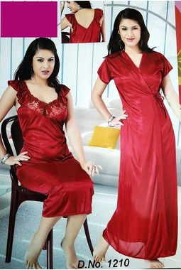 2 piece premium nighty homemaker style frilled - JKSETH-2P-1210, ranipink, free size  32-36  inch, one piece inner nighty and one piece outer gown