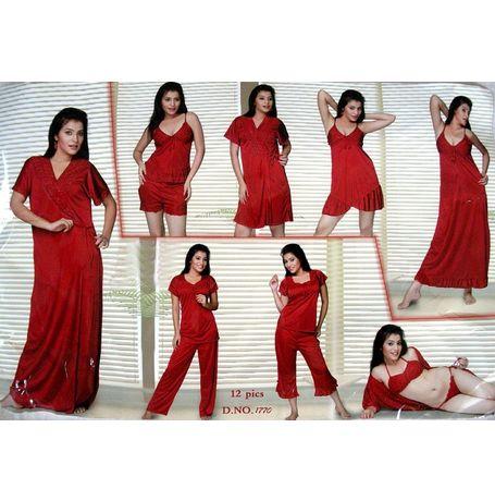 12 Piece Honeymoon Nighty - Bra Panty Top Capri Nikker Babydoll Slip Pyjama Short Nighty Robe Overcoat - JKNIGTY-12P- 1770, purple