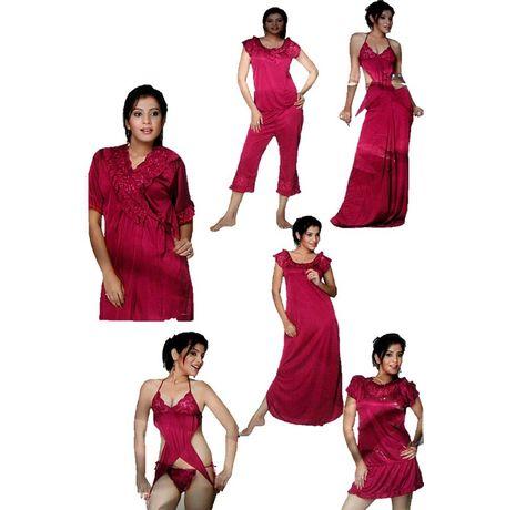 9 Piece Nighty - Skirt Bra Panty Cami Long Skirt Pyjama Tops Overcoat - JK9P - 150, purple