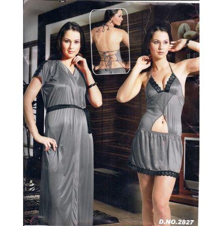 2 Piece nighty - seductive exclusive design - JKHNS - 2P - 2828, pink