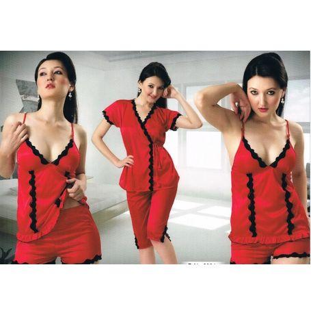 4 Piece Night Suit - Exotic Romantic Sleepwear - JKHNS - 4P - 2901, lavender