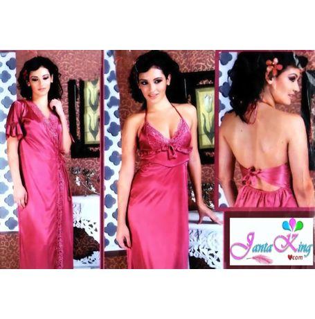 2 Piece Nightwear - Exotic Designer Full Lace Premium - JK2P- S- 344- A, love color   wine red