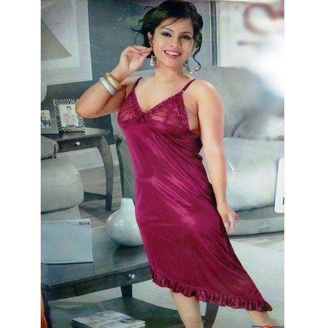 Fishcut fine satin Babydoll dress - JKSETH-1P-8053, brinjal, free size  28-34  inch, babydoll dress with free panty