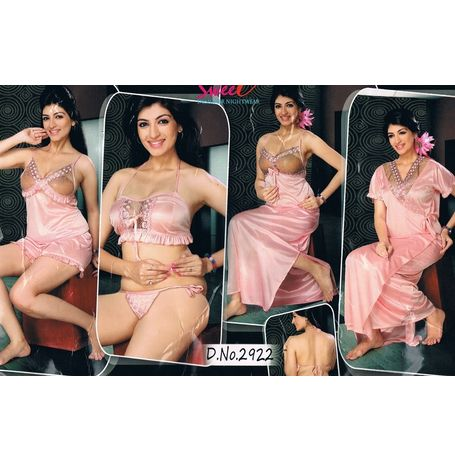 6 Piece Nikker Nighty - Transparent Set - JKHNS - 6P - 2922, baby pink