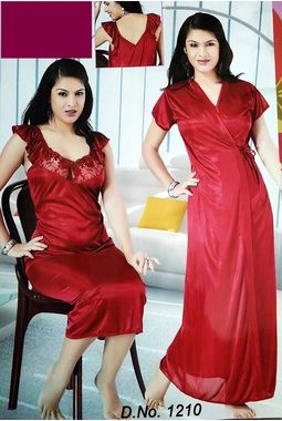 2 piece premium nighty homemaker style frilled - JKSETH-2P-1210, magenta, free size  32-36  inch, one piece inner nighty and one piece outer gown