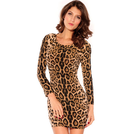 Velvet Crew Neck Leopard Mini Dress Coffee JKDL - LC2683-2, coffee, free  30-34 bust  30-34 waist  30-34 hips