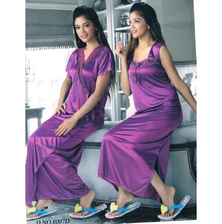 2 Piece Traditional nighty - JKHNS-2P- 8007, pink
