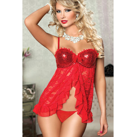 Red Queen of desire babydoll - JKKLIFE - 4142, red, free  30-34 bust  30-34 waist  30-34 hips