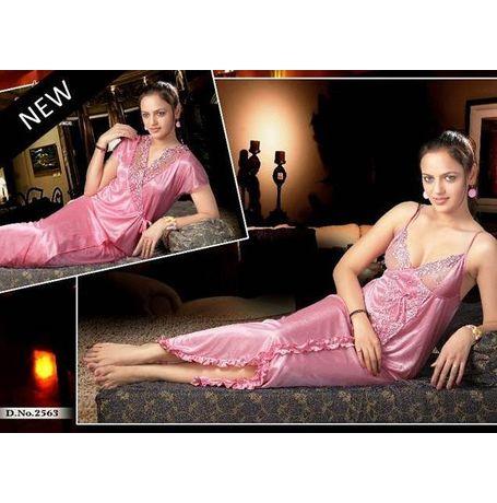 Bridal 2 piece nighty - beautiful - JKNHNS - 2563, pink
