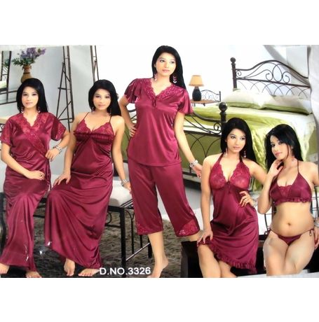 7 piece nighty - Ultra Exclusive Design - JK7P - NAV - 3326, wine red love color