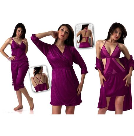 4 piece Bridal Nighty - High oomph - JKHNS - 4P - 2911, pink, free  30-36 bust  30-34 waist  30-36 hips