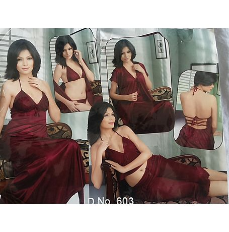 6 Piece Nighty - Honeymoon set - JKHNS - 6P - 603, love color - wine red