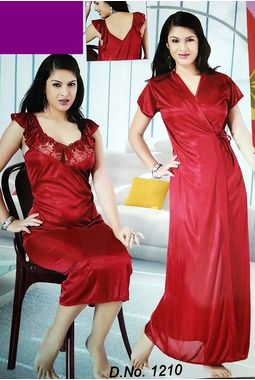 2 piece premium nighty homemaker style frilled - JKSETH-2P-1210, purple, free size  32-36  inch, one piece inner nighty and one piece outer gown