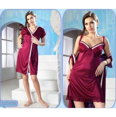 2 piece Romantic short nighty - women sleepwear - JKNHNS - 6028