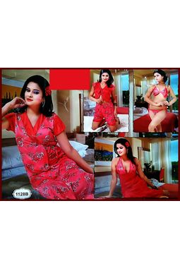 6 piece nighty (premium) nikker nighty honeymoon valentine true love - JKSETH6P - 1128, red, free size  32-36  inch, 6 piece lovely nighty set