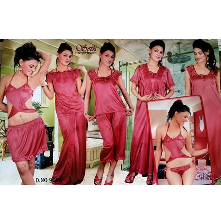 9 piece Lungi honeymoon nighty set - Lungi Bra Panty Skirt Top Skirt Pyjama Top nighty Overcoat - JKSETH-9P - 9005, rani pink