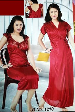 2 piece premium nighty homemaker style frilled - JKSETH-2P-1210, winered, free size  32 - 36  inch, one piece inner nighty and one piece outer gown