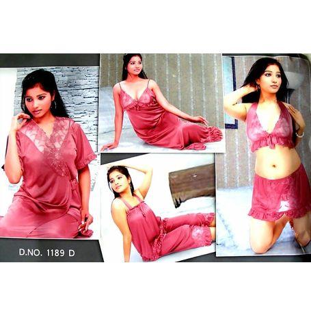 6 Piece Nighty - Romantic desires collection - JK6P-NAV-1189 D, catalog pink