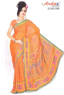 Saree - Designer Faux Chiffon - Beautiful Orange prints- JKSAREEAndaz558
