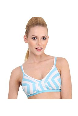 Stripes Double Front Strap Bra - JKNAGBRA - H-LINE, 36-blue