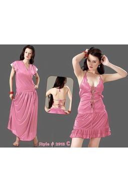 2 Piece romantic nighty - Two in one charm - JKHNS - 2P - 2913, pink