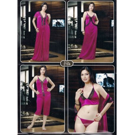 6 piece Nighty - Very Comfortable Exclusive Honeymoon Piece- JKNHNS 2759, catalog color purple