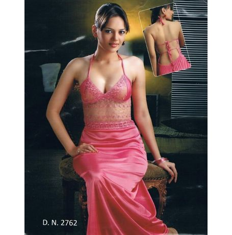 Honeymoon tie up open back nighty - transparent laces tie up back - women sleepwear - JKHNS-1P-LONG - DNo 2762, catalog pink