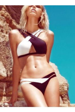2 piece Crisscross Double Colored Bikini Swimsuit - JKDLLC40902, black and white, l, bra top and panty