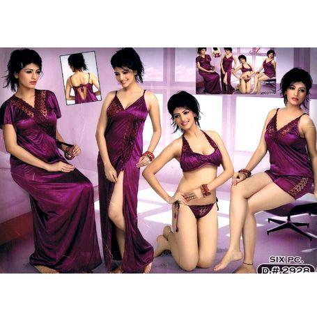 Honeymoon 6 Piece nighty nikker set - JKHNS- 6P - 2928, pink
