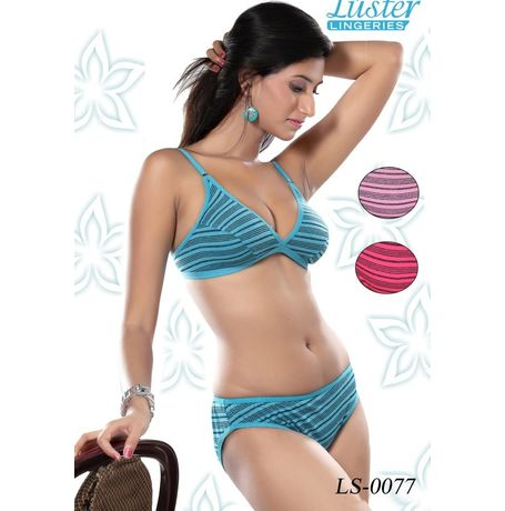 Stripes Bra panty set - JKLUSTSET- 0077, 36, sky blue