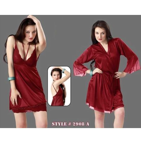 2 piece nighty charming sweetheart robe - JKHNS - 2P - 2908, wine red love color