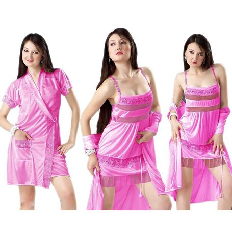 2 piece nighty - My Love robe nighty - JKHNS - 2P - 2909, pink