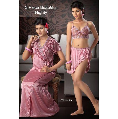 3 Piece Honeymoon Nighty - Skirt Top Overcoat - JK3P-NightySpicy-4026, pink