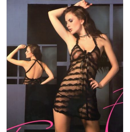 Babydoll Nighty - Full Transparent exotic laces - women sleepwear - JKVAL - F - 434, black